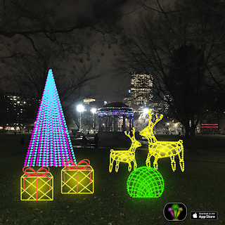 Decorative light stickers of reindeer, gift packs and trees over Boston Common photo.